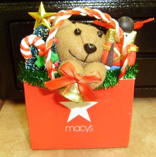 Macy's RED Shopping BAG Ornament with Plush - Bag Macy's Shopping