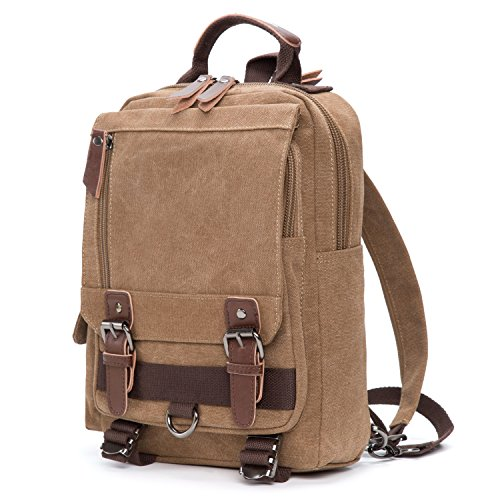 116775fb236 Small Canvas Rucksack Unisex Vintage Backpack Convertible Sling Messenger  Bag for Men Women (Coffee