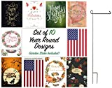 Seasonal Outdoor Garden Flag Set – 10 Double-Sided Year Round Designs, 12″ x 18″, Includes Garden Flag Pole Stand Review