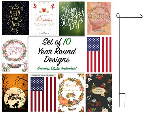 seasonal garden flag set
