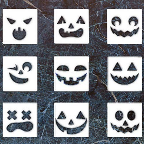 (9 Pack Halloween DIY Decorative Stencils Set Halloween Stencils for Painting on Wood,Airbrush and Walls)