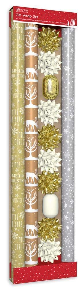 con fiocchi e nastro color oro e crema 3 m Set di 13 rotoli di carta da regalo natalizia