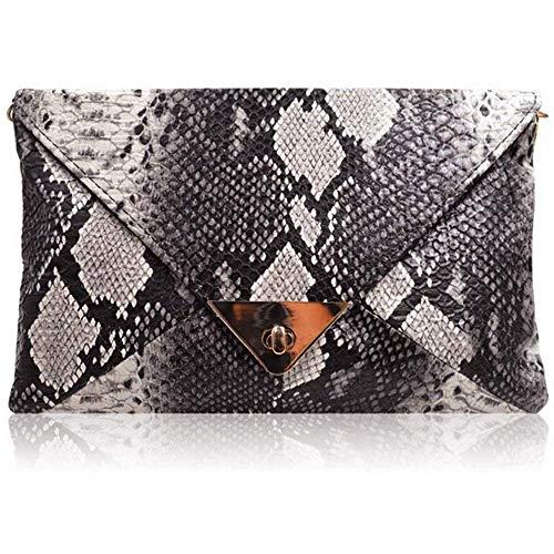 Frauen Umschlag Schlangenleder Kupplung Tasche Metallkette Gurt Retro Fashion Crossbody Schultertasche