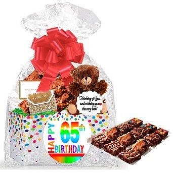 65th Birthday / Anniversary Gourmet Food Gift Basket Chocolate Brownie Variety Gift Pack Box (Individually Wrapped) 12pack (Gift Basket For 65th Birthday)