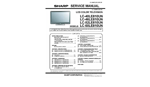 sharp lc52le810un and lc40le810un and lc46le810un service manual rh amazon com