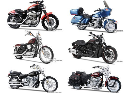 Harley Davidson Motorcycle 6pc Set Series 31 1/18 by Maisto 31360-31 by ()