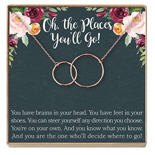 Dear Ava Graduation Gift Necklace for Girls: College, High School, Elementary, Senior Graduation, 2 Interlocking Circles (Rose-Gold-Plated-Brass, NA)