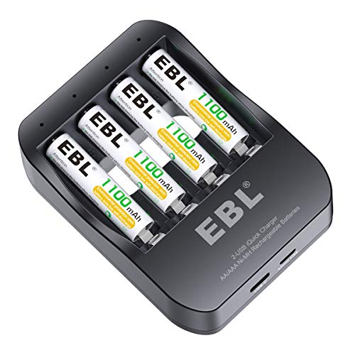 EBL Smart AA AAA Battery Charger 2 Hours Ni-MH Battery Charger iQuick Tech USB-Input with Rechargeable AAA Batteries 1100mAh, 4-Counts