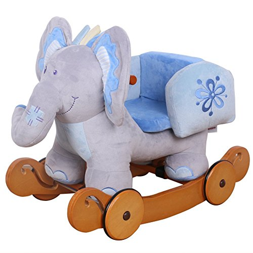 Rocking Elephant with Wheels - Blue