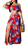Women's Summer Floral Tube Top and High Wasit Maxi Skirt 2 Piece Outfits Dress Party Wear Red