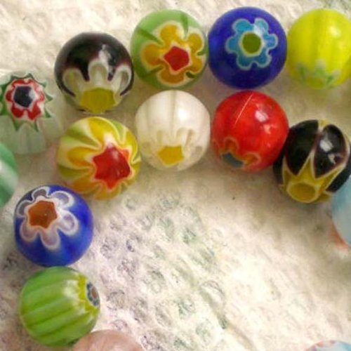 Beading Station 48-Piece Millefiori Flower Lampwork Glass Round Beads, 8mm