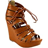Nature Breeze EB45 Women's Studded Strappy Lace Up Zip Slip On High Wedge Sandal