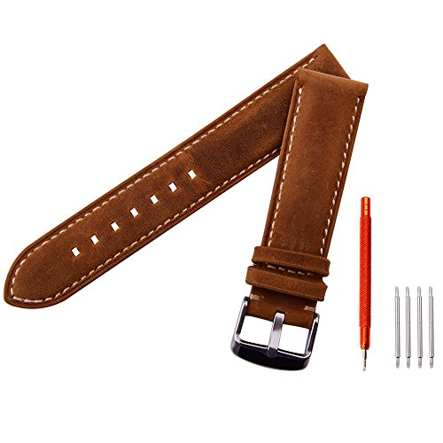 Ritche 18mm 20mm 22mm Leather Watch Strap,Watch Band Wrist Replacement Pin Buckle Black Brown