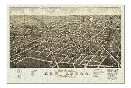 Ann Arbor, Michigan - (1880) - Panoramic Map (20x30 Premium 1000 Piece Jigsaw Puzzle, Made in USA!)