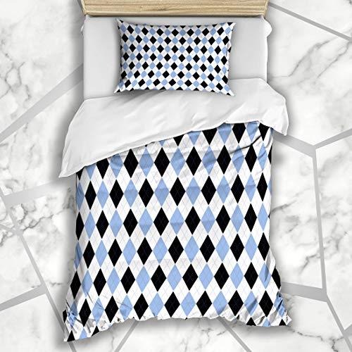(Ahawoso Duvet Cover Sets Twin 68X86 Border Scottish Argyle Plaid Pattern Blue Diamond Black Check Checker Chequer Microfiber Bedding with 1 Pillow Shams)