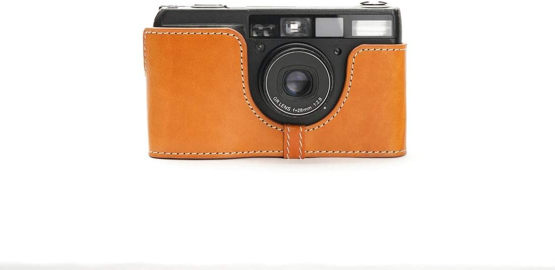 Handmade Genuine Real Leather Half Camera Case Bag Cover for Ricoh GR1V Sandy Brown Color