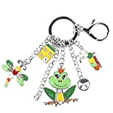 Enamel Alloy Frog Butterfly Caterpillar Animal Key Chain For Women Girl Bag Keychain Charm Jewelry Aceessories Green