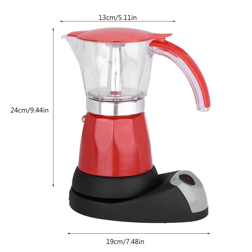 Cafetera exprés, 300 ml / 6 tazas 480 W eléctrica Moka Pot extraíble cocina cocina cafetera(Red)