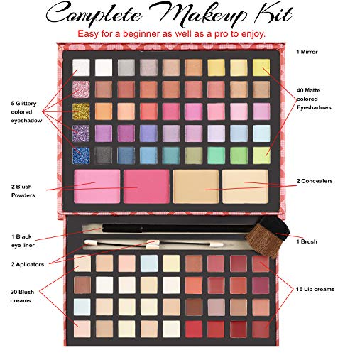Makeup Kits for Teens – 2-Tier Love Make Up Gift Set and Eyeshadow Palette for Teen Girls and Juniors -Variety Shade…