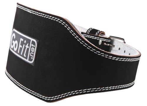 GoFit 6-Inch Padded Etched Leather Weightlifting Belt (Black, Medium)