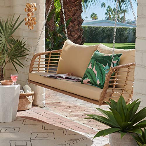 Breezy Oasis Rustic Cottage Pecan Brown Resin Wicker Outdoor Porch Swing with Tan Cushions 3 Person Patio Garden Furniture