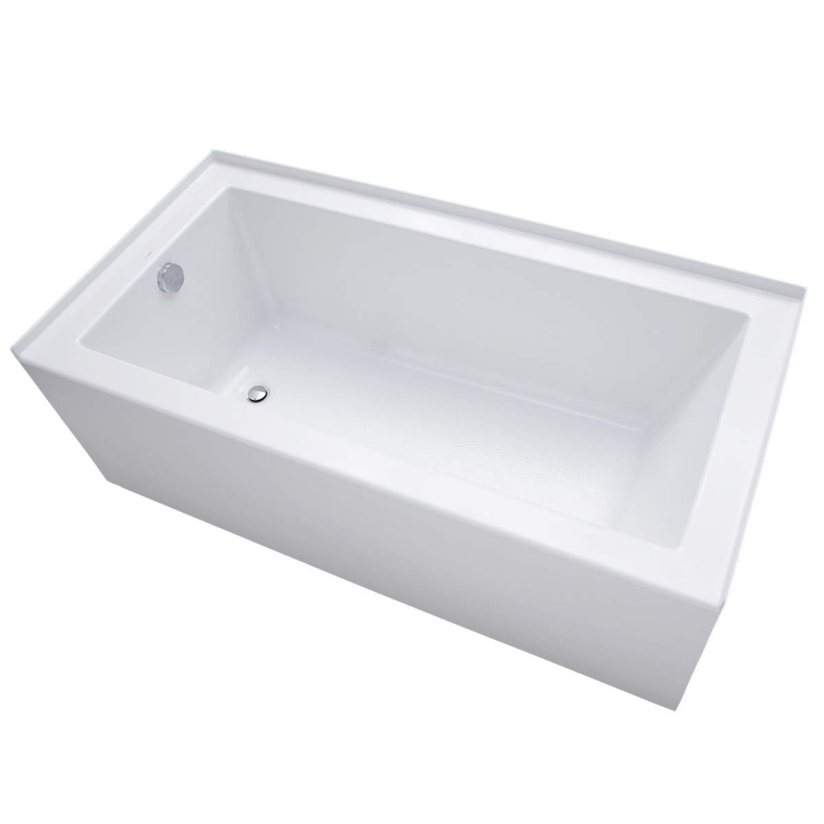 Mirabelle MIRSKS6032LWH Sitka 60 X 32 Acrylic Soaking Bathtub for Three Wall Alcove Installations with Left Drain