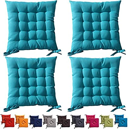 Set di 4 cuscini da sedia trapuntati - cuscini da esterno - 40 x 40 ...