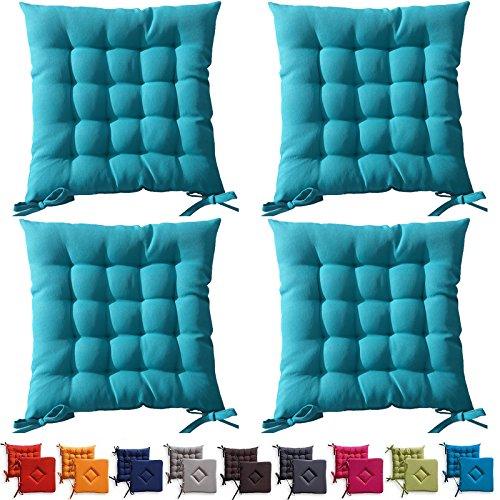 Set di 4 cuscini da sedia trapuntati - cuscini da esterno - 40 x ...