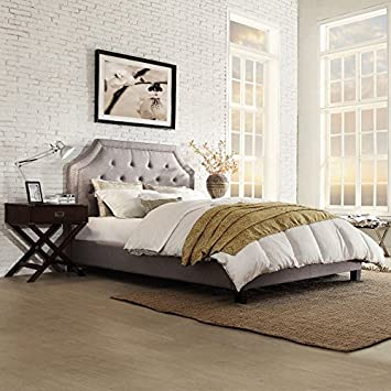 Chelsea Lane Inspire Q Benson Arched Upholstered Low Profile Bed. Amazon com  Chelsea Lane Inspire Q Benson Arched Upholstered Low