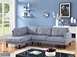 Cheap Beverly Fine Furniture SH6001A Emeral Left Facing Linen Sectional Sofa, Light Blue