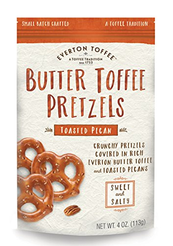 - Everton Toffee Butter Toffee Pretzels, Toasted Pecan Flavor (4 oz. bag, 9-pack), Gourmet Artisan Toffee Covered Pretzels, Sweet and Salty Mini Pretzel Snacks, Small Batch Crafted