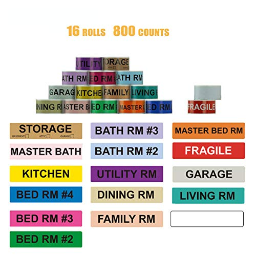 """Removable Home Moving Color Coding Labels for Boxes,Packing Supplies, 14 Different Living Spaces Labels+1 Fragile-Handle with Care Stickers+1 Blank White Labels for Customization(800 Counts,1""""X 4.5"""")"""