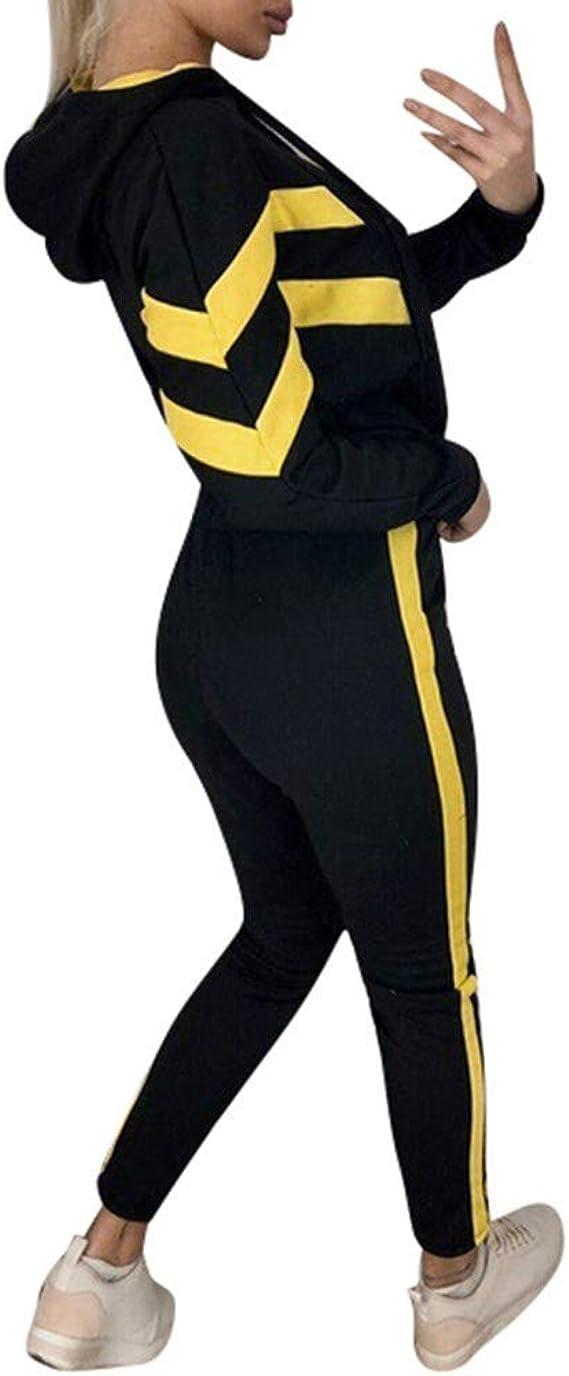 Tomwell Sportanzug Damen Trainingsanzug Sportswear Set Frauen Mode Crop Tops Sweatshirt Cargo Hosen Hip Hop Jogger Elastische Hohe Taille Taschen Streetwear Freizeitanzug Zwei St/ück Sets