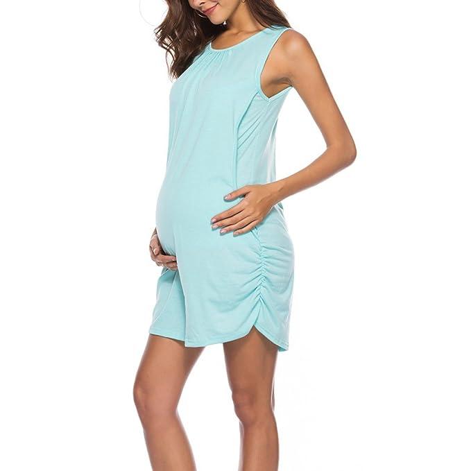 Zhhyltt Maternidad 2 en 1 Embarazo y Enfermería Ventas Calientes Vestido Corto de Playa O-