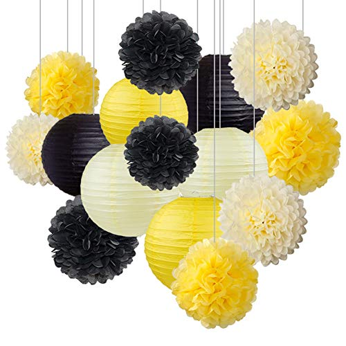 Honey Bee Wedding - zorpia Honey and Bee Baby Shower Decorations Yellow Cream Black Tissue Paper Pom Poms Flower Paper Lanterns for Honey Bee Birthday Party Wedding Bridal Shower Outdoor Decoration 15Pcs Mixed 8