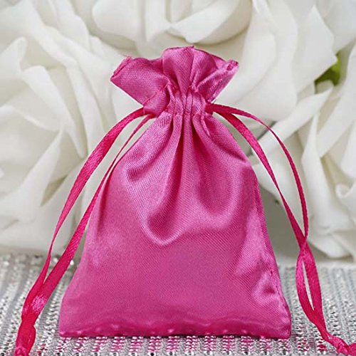 (Efavormart 60PCS Fushia Satin Gift Bag Drawstring Pouch Wedding Favors Bridal Shower Candy Jewelry Bags - 3
