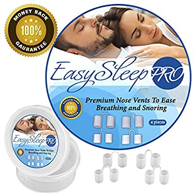 EasySleep Pro Anti Snoring Solution Nose Vents Set with Travel Case (4-Pair) by Veluxio