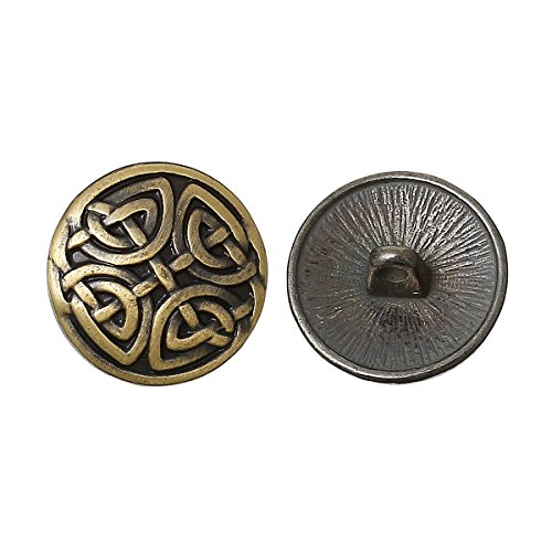 PEPPERLONELY Brand 10PC Antiqued Bronze Round Pattern Carved Scrapbooking Sewing Buttons 17mm (Approximately 5/8 Inch)