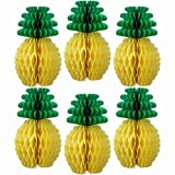 Fullyy Tissue Paper Pineapples Paper Honeycomb Ball Hanging Decoration for Hawaiian Theme Wedding Home Décor,6 Pieces