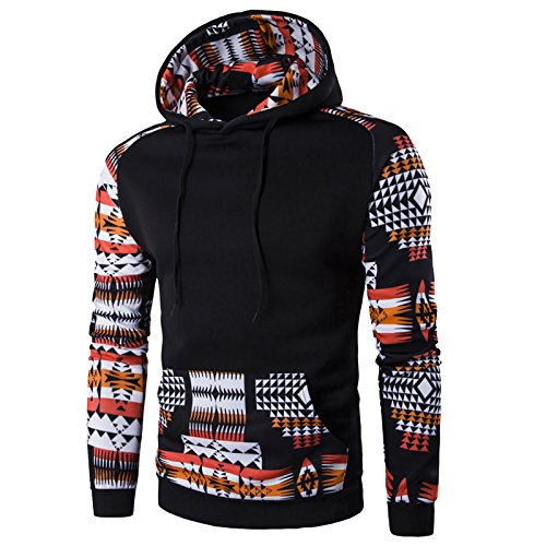 WSLCN Mens Hoodies Aztec Pattern Sweateshirt Long Sleeve with Pocket Central Black US M (Asian XL) - Central Pattern