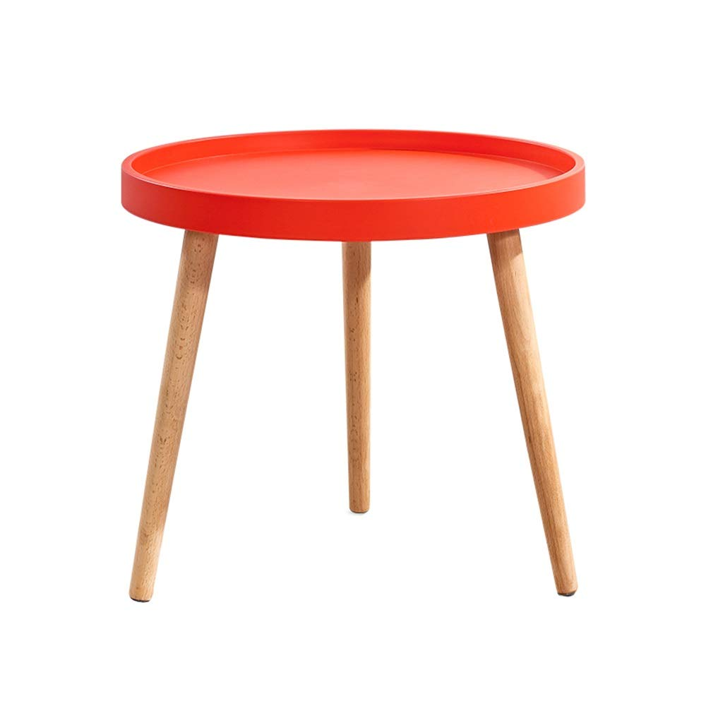 LJHA bianzhuo End Table, Solid Wood Small Round Table for Family Restaurants, Bar, Red Hotel, Leisure Bar, 50×45 cm, 4 Colors Bedside Tables (Color : Red) by GYH End Table