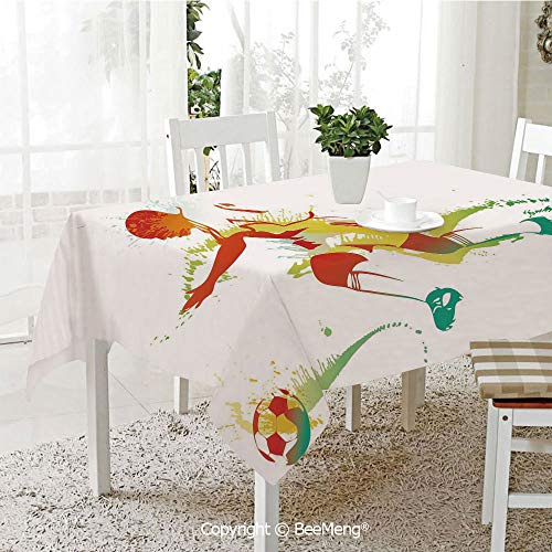(BeeMeng Spring and Easter Dinner Tablecloth,Kitchen Table Decoration,Teen Room Decor,Young Man Playing Soccer Football Athlete Game Champion Paintbrush Artwork,Multicolor,59 x 83)