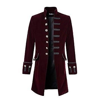 Big Daoroka Mens Stand Collar Long Printed Coat Jacket Autumn Winter Warm Button Tailcoat Gothic Jacket