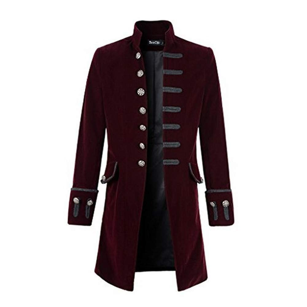 Goddessvan Mens Gothic Tailcoat Jacket Black Steampunk Victorian Long Coat Halloween Costume