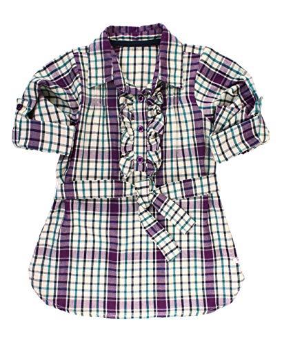 (RuffleButts Girls Plaid Button Down Shirt Dress - 6)