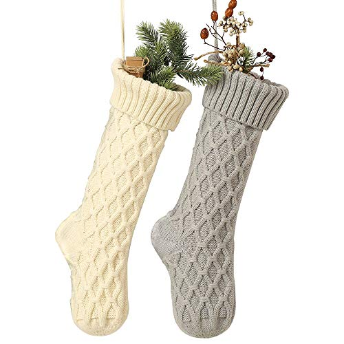 Free Yoka Cable Knit Christmas Stockings Kits Solid Color White and Gray Classic Decorations 18 Inches Set of 2 (Vintage Stockings Knit Christmas)