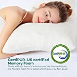 Sable Pillow for Sleeping, Adjustable CertiPUR-US Hypoallergenic Shredded Memory Foam for Back Side and Stomach Sleeper, Bamboo Cover, Dust Mite Resistant, Machine Washable, Queen Size