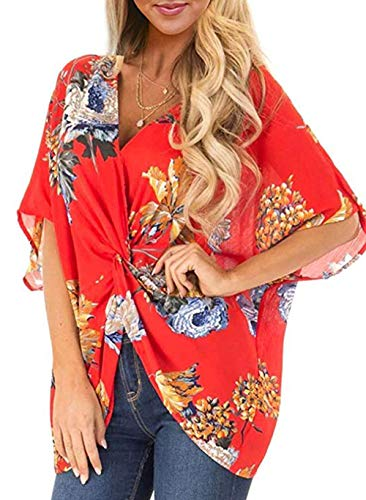 (Women's Print V Neck Half Short Cut Sleeve Tops with Twist Knot Front Shirts Blouses (S, Red))