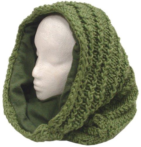 Thick Fleece Lined Wool Mobius Scarf/Hoodie (Kelly Green)