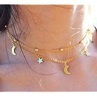 Set Collares Estrellitas y Lunas Dorado estilo NS801443